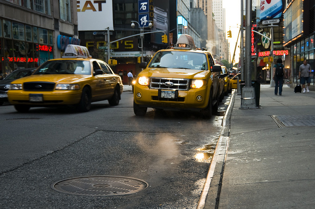 new york taxis via flickr by s j pinkney