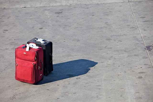 Suitcases on tarmac