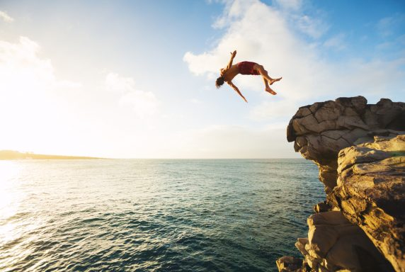 cliff jumping holiday